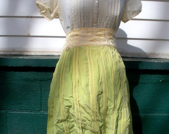 CLEARANCE- Lime green and yellow waist apron in repurposed silk