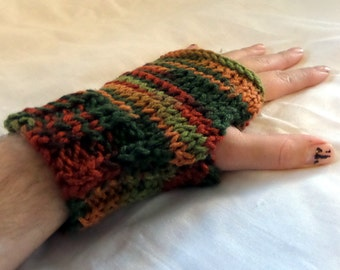 M/L Mulit Color Fingerless Gloves, Fingerless Mittens, Fall, Brown, Green, Orange