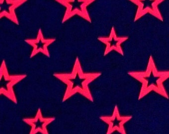 Bright Orange Star Black Cotton Non Stretch Quilt Fabric BTY