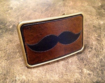 Leather Moustache belt buckle movember