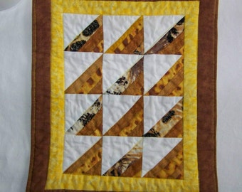 Scrappy Triangles Mini Quilt Mug Rug Coaster in Brown and Yellow