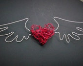 Red Glitter Flying Heart Wire Sculpture