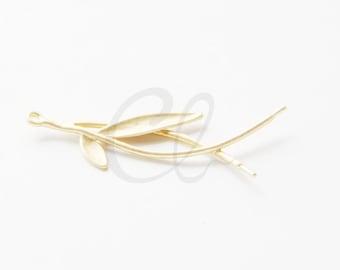 One Piece Premium Matte Gold Plated Brass Base Pendant - Branch 44.9x13.9mm (1256C-T-267)