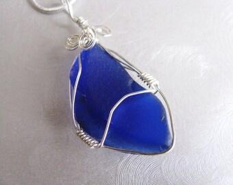 Statement Pendant  - Beach Glass Pendant - Cobalt Blue Sea Glass - Wire Wrapped - Beach Glass Jewelry