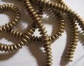 Czech Mate 2 Hole Lentil Beads 6mm - Silky Light Gold (Flax) - Strand of 50