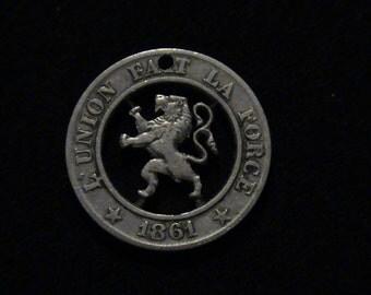 Belgium - cut coin pendant - w/ Lion - 1861