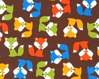 One (1) Yard - Urban Zoologie Fox Pups Robert Kaufman Fabric AAK-14723-16 BROWN