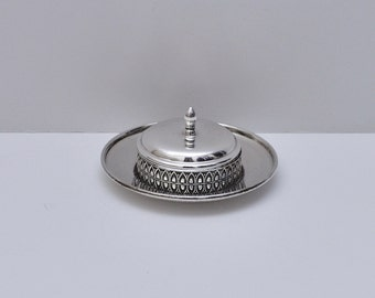 Nickel Silver Caviar Server Dish with Glass Liner