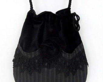 Black Lace and Velvet Pocket Bag  Black  Velvet Bag With Rose  Steampunk Bag  Crossbody Velvet Purse