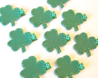 St. Patricks Day Shamrock Felt Hair Clippie - Emerald Green Clover Felt Hair Clip - Holiday hair bows