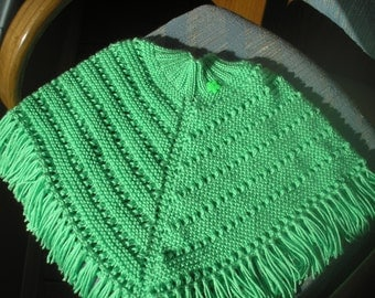Knitted Poncho, Girls Medium - Lime Green