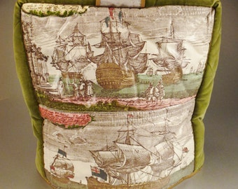 TEAPOT COVER Caddy Handcrafted Chintz Ships old Prints German and velvet sides with padding app 10 x 10 x 4 in