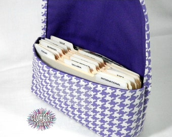 Coupon Organizer Holder Lilac Houndstooth Heavy Duty Duck Cotton Fabric