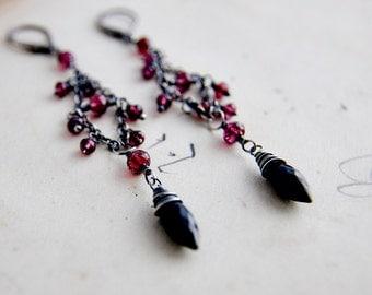 Chandelier Earrings, Garnet Earrings, Onyx Earrings, Ornate Earrings, January Birthstone, Birthstone Jewelry, Goth Style
