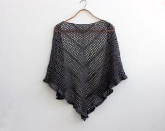 Cotton Lace Bridesmaid Shawl, Wedding Shawl, Soft Ruffle Wrap,  Custom Choose Color, Bridesmaid Gift