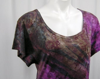 The Jagged Edge in Byzantium, Umber, and Lamp Black. A Hand Dyed DevoTee MicroModal Slub Scoop Neck Cropped Tee (medium)