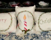Mini Christmas Pillows Tucks Ornaments Hand Embroidery Merry Christmas Candle