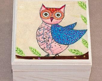 Owl Jewelry Box, Blue and Pink Owl Wooden Jewelry Box, Owl Trinket box