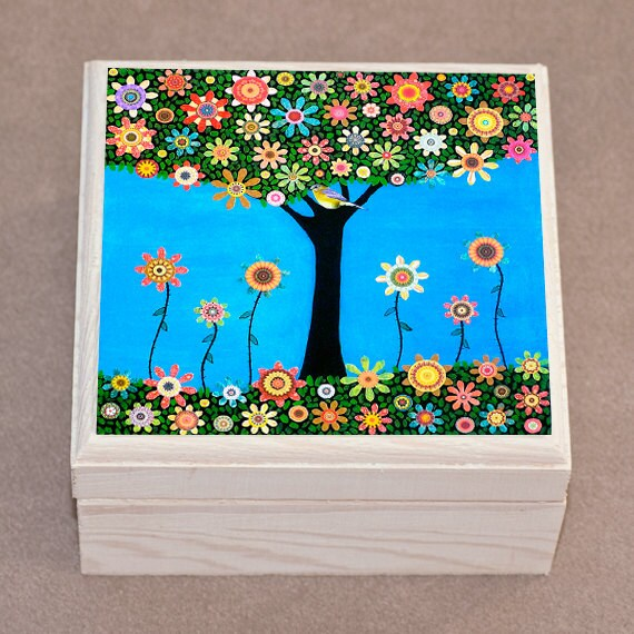 Bird Tree Jewelry Box Trinket Box Wooden Box