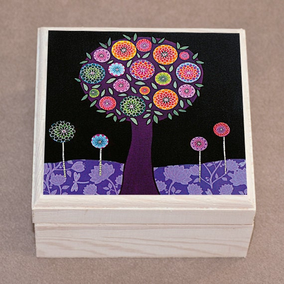 Purple Tree Jewelry Box Handmade Art Jewellery Box Trinket Box