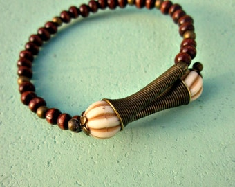 Dark Wood Beaded Adjustable Memory Wire Cuff Bangle Bracelet with Faux Bone and Brass Accents: Namibia