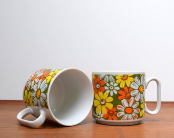 Bright and Colorful Daisy Coffee Mugs, Pair of Groovy Stackable Cups, Flower Power, Orange Yellow and Green