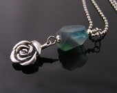 Rose Necklace with Fluorite and Apatite, Fluorite Necklace with Rose Charm