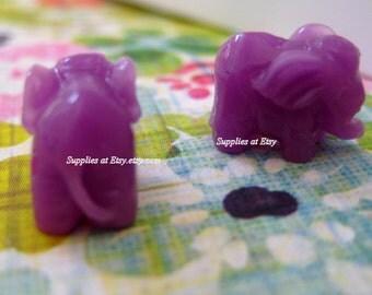 Animal beads,Elephant bead-Violet Lavender Miniature good luck Elephant  bead-carver Elephant synthetic Stone beads Charm Amulet-Lucky charm