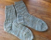 Hand Knit Women's Socks Size 9 Made in Maine Yarn supplied by customer Custom Order for Terri Hunter (periwinklefoolery)