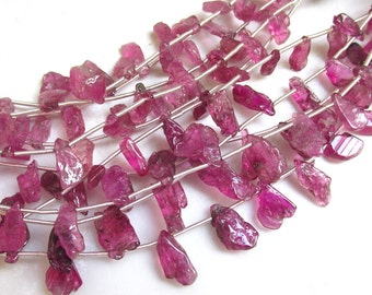 Vivid Natural Hot Rubelite Pink Tourmaline Nugget Briolette Beads Transparent