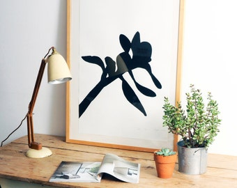 Botanical art print, Black and white art, Monochrome poster, Gallery art, screen print art, Contemporary wall decor, Cactus drawing