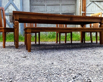 Colonial American Reclaimed Wormy Chestnut Dining Table