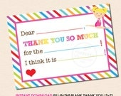 Girls Gymnastics (Blonde Hair) Fill-in-the-Blank Thank You Note - INSTANT DOWNLOAD - Printable PDF File