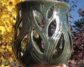 Luminary with Leaves - Tea Bag Holder - Handmade Pottery