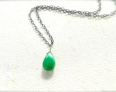 Soft Mint Necklace - mint green chrysoprase necklace, chrysoprase necklace, oxidized silver necklace, black and green necklace, OS05