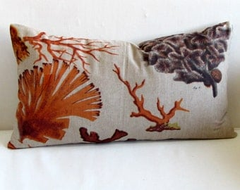 CORAL in orange designer lumbar bolster pillow 13x25 insert included