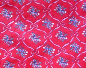 Red Vintage Cotton Fabric - Multi-Color Small Print Floral with Pink Ribbons - Spring Industries Cinderalla / Yardage