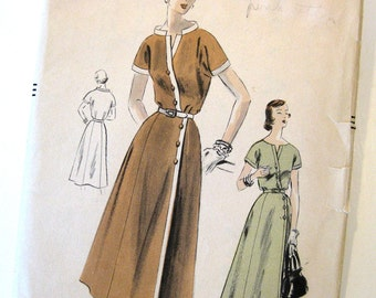 1950s Vintage VOGUE Sewing Pattern - Wrap Dress With Stand Up Band Collar - Vogue 7988 / Size 14