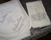 Peter Personalized Baptism Christening Blanket and Burp Cloth  - Choice of Name and/or upto 3 Initials