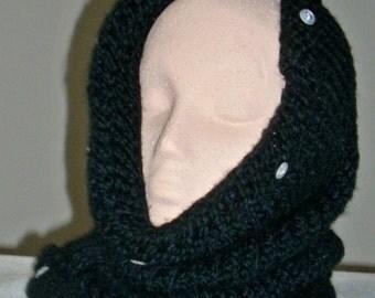 Velvety Hood Knitted in Black Wool-Ease Yarn