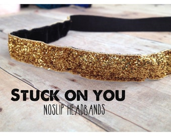 no slip | non slip | fitness headband | yoga headband | running headband | marathon | softball | glitter | gold sparkle