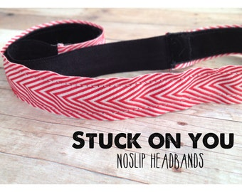 no slip | non slip | fitness headband | yoga headband | running headband | marathon | softball | chevron | red and white |