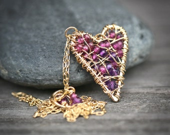 Amethyst and Garnet Woven Heart - Wire Wrapped14k Gold Filled Layering Necklace