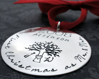 Our First Christmas - Married Couples Christmas Ornament in Sterling Silver - Personalized Xmas Tree Ornament by EWD
