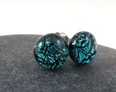 Fused Glass Earring Posts Studs - Bright Aquamarine - Fused Glass Earrings - Blue Earrings