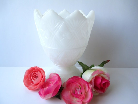 Ornate Vintage EO Brody Milk Glass Footed Vase, Wedding Decor