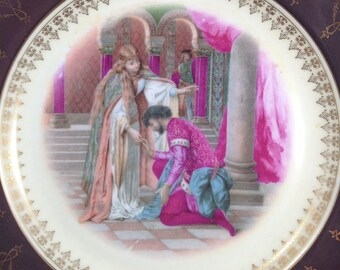 Lovely Vintage Decorative Plate with Medieval Couple in Burgundies and Pink