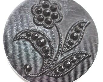 Button - Pictorial Black Glass - Medium