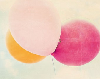 Nursery Art,  Baby Room, Balloon Photo, Whimsical Photography,  Pastel Nursery, Little Girl's Room, Pink, Balloons Print, Choose Your Size