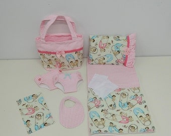 Bitty Baby Basics in Diaper Change Babies- Diaper Bag and Diapers with Blanket and Pillow